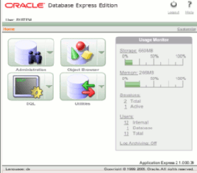 Oracle Express Edition - Web-Interface